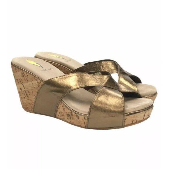 VOLATILE Sandals Metallic Bronze LEATHER Wedge